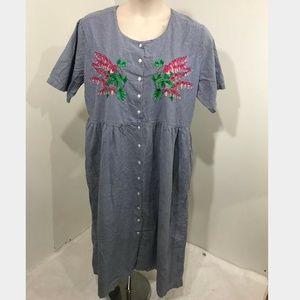Vintage House Dress Blue Check Cotton Plus 2X